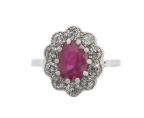 18ct White Gold 1.44ct Ruby & Diamond Cluster Ring