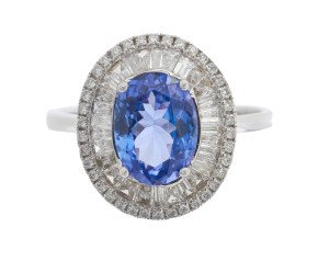 18ct White Gold 1.88ct Tanzanite & Diamond Cocktail Ring
