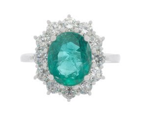 18ct White Gold 2.68ct Emerald & Diamond Cluster Ring