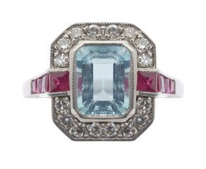 1.70ct Aquamarine, Ruby & Diamond Cluster Ring