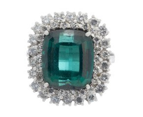 5.10ct Green Tourmaline & Diamond Double Cluster Ring