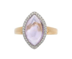 18ct Gold 3.37ct Amethyst & Diamond Halo Ring