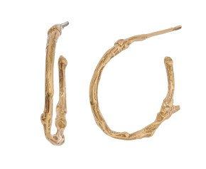 18ct Gold Vermeil Small Twig Hoop Earrrings