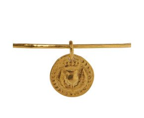 18ct Yellow Gold Vermeil Bawbee Coin Bangle