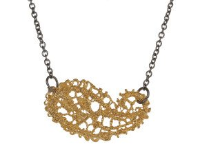 18ct Gold Vermeil & Black Rhodium Lace Paisley Necklace