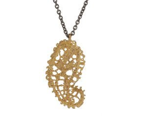 18ct Gold Vermeil & Black Rhodium Lace Paisley Pendant Necklace