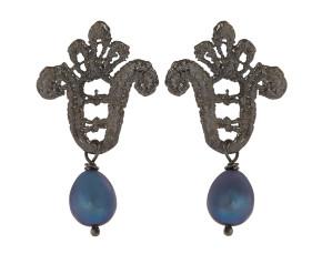 Black Rhodium Lace & Black Pearl Drop Earrings