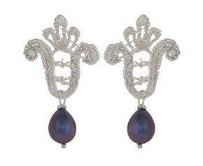 Sterling Silver Lace & Black Pearl Drop Earrings