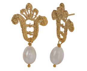 18ct Gold Vermeil Lace & Pearl Drop Earrings