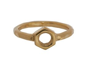18ct Gold Vermeil Hex Nut Ring