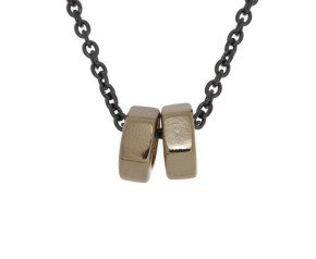 18ct Gold & Black Rhodium Vermeil  Hex Nut Necklace