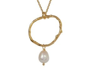 18ct Gold Vermeil Twig & Pearl Necklace