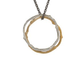 18ct Gold Vermeil & Silver Twig Circles Necklace
