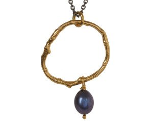 18ct Gold Vermeil Twig & Black Pearl Necklace