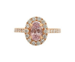 18ct Rose Gold 0.69ct Pink Spinel & Diamond Halo Ring