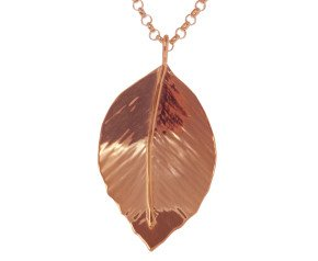 Sterling Silver & Rose Gold Vermeil Small Beech Leaf Pendant