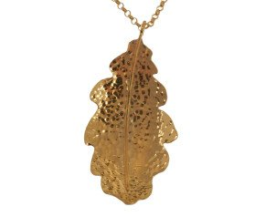 Sterling Silver & Yellow Gold Vermeil Large Oak Leaf Pendant