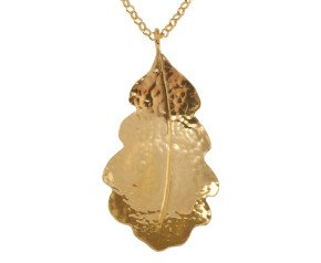 Sterling Silver & Yellow Gold Vermeil Medium Oak Leaf Pendant
