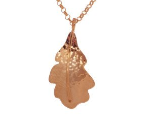 Sterling Silver & Rose Gold Vermeil Small Oak Leaf Pendant