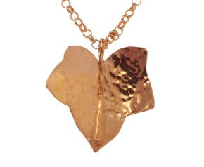 Sterling Silver & Rose Gold Vermeil Medium Leaf Pendant