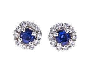 1.00ct Sapphire & Diamond Cluster Earrings