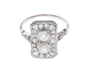 Vintage Art Deco 14ct White Gold 0.73ct Diamond & Pearl Dress Ring