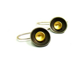 Oxidised Sterling Silver & Gold Vermeil Large Target Drop Earrings