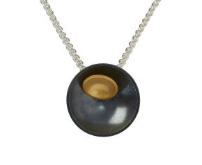Oxidised Sterling Silver & Gold Vermeil Double Target Pendant