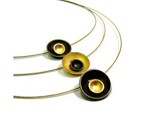 Oxidised Sterling Silver & Gold Vermeil Triple Target Necklet