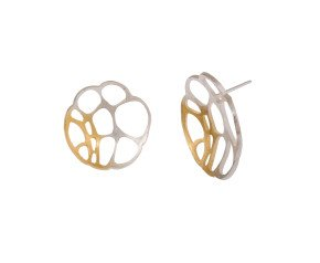 Sterling Silver & Gold Vermeil Round Lacewing Earrings