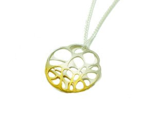 Sterling Silver & Gold Vermeil Round Lacewing Pendant