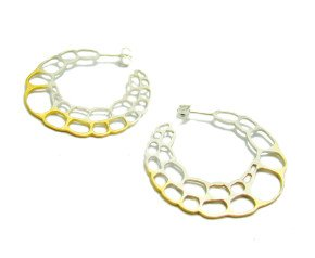 Sterling Silver & Gold Vermeil Lacewing Hoop Earrings