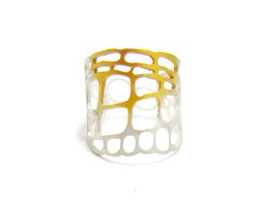 Sterling Silver & Gold Vermeil Lacewing Wrap Ring