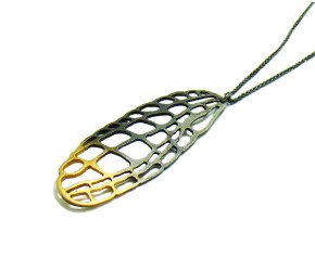 Oxidised Sterling Silver & Gold Vermeil Large Lacewing Pendant