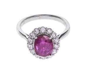 Pre-Owned 1.33ct Ruby & Diamond Cluster Ring