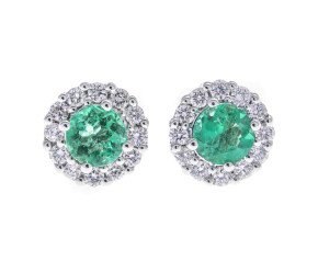 Pre-Owned 18ct White Gold 0.82ct Emerald & Diamond Cluster Earrings