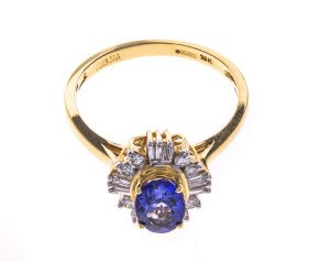 Pre-Owned 18ct Gold 1.27ct Tanzanite & Diamond Cocktail Ring