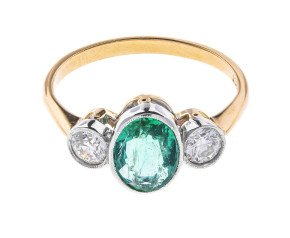 1.10ct Emerald & Diamond Trilogy Ring