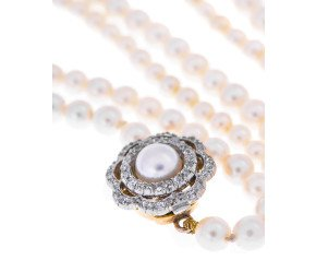 Vintage 1920's 15ct Gold Diamond Clasp Pearl Necklace