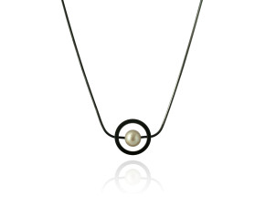 Black Oxidised Sterling Silver White Pearl Orbit Halo Necklace