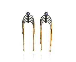 Black Oxidised Sterling Silver & Gold Vermeil Peacock Pearl Interchangeable Stud & Drop Earrings