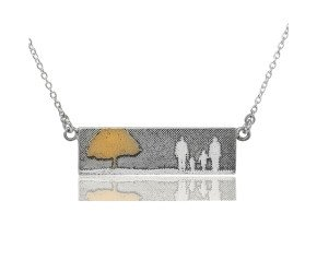 Sterling Silver Family of Four & Golden Tree Necklace