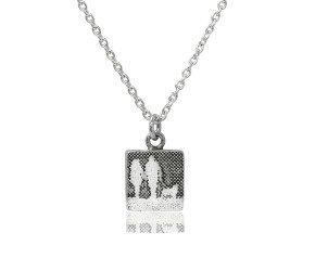 Sterling Silver Couple & Golden Mans Best Friend Necklace