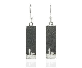 Sterling Silver Night Sky Dog Drop Earrings