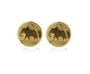 Sterling Silver Elephant Golden Earrings
