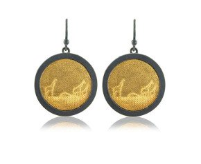 Sterling Silver Black & Gold Giraffe Earrings