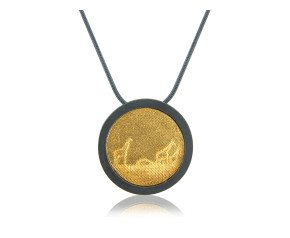 Sterling Silver Black & Gold Giraffe Necklace