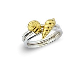 Sterling Silver Spiral Golden Shell Ring