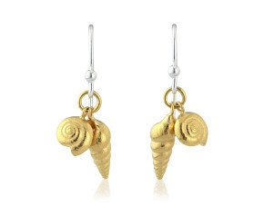Sterling Silver Double Golden Shell Drop Earrings