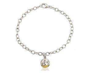 Sterling Silver Round Family Beach Bracelet